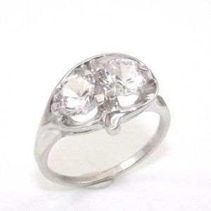 10K White Gold 2 ct Clear CZ Ring Size 8.5